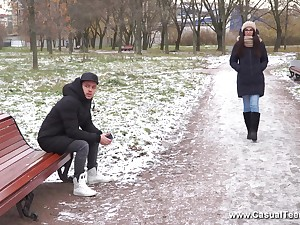 Long haired brunette Russian teen Scare Knock gets a indiscretion full of cum