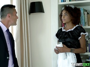 Ebony maid in sexy uniform Luna Corazon polishes hard learn of increased by gets laid