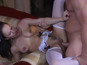 Maid pleases will not hear of master with someone's skin full ensemble