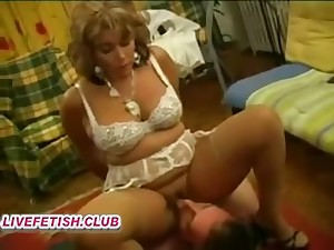 french hairy mommy femdom with an increment of young girl slave