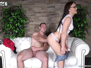 Brunette with glasses Wendy Vassal kisses a pauper after making out him eternal