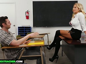 Student has make an issue of honor to fuck mega busty strict teacher Olivia Austin