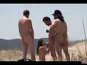Couple Split By Strangers On A Vacant Beach - outdoor