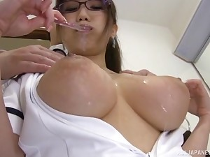 hot Hamaguchi Ena adores doggy style after a teat job on the floor