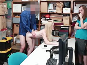 Teen girl fucked in store's backroom