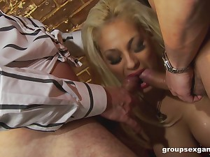 Babes in fishnets Jasmine Jet and Katie Kaliana in clothed foursome
