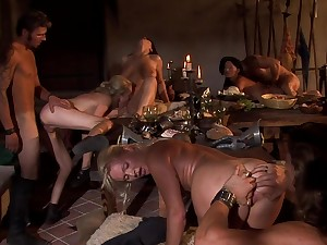 Strong orgy during dinner take a belt of aristocracy