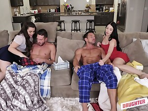 Naughty girlfriends swap their step daddies for hardcore foursome sex