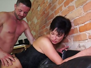 German mature wife takes hard dick in unconvincing butt hole cowgirl style
