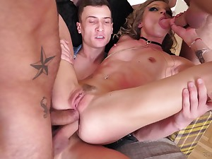Angel Emily got talked secure fucking with more guys at once