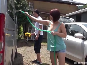 horny Asian enjoys amazing fuck in be passed on car cabine with her friend