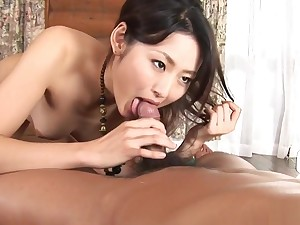 Gorgeous Asian brunette deep down sucks coupled with rides a hairy
