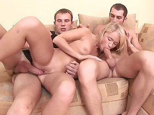 Girlfriend hard fucked in both holes by dramatize expunge two lovers