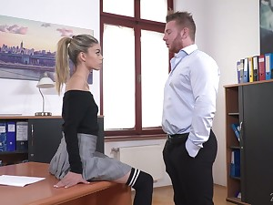 Perverted boss lures his naughty and sexy secretary Ciara Riviera and fucks the brush anus hard