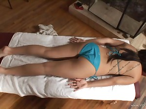 Cosset yon navel piercing gets oiled, massaged and fucked