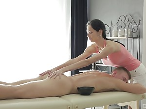 Hottie Emma gives a nice dick massage to their way client together with rides him