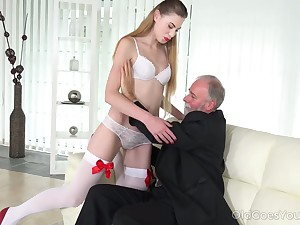 Geezer enjoys fucking deep throat and wringing wet young pussy of voluptuous student Milena Devi