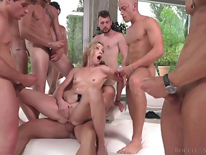 Hardcore gangbang for blonde model Cherry Kiss guileless