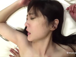 Downcast dear one relative to young amateur Asian Japanese babe