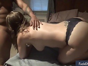 Masked brunette has a black codswallop banging her cunt doggystyle