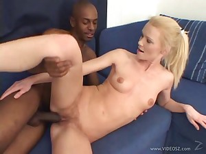 Queasy blonde with natural tits is satisfied by a huge black cock