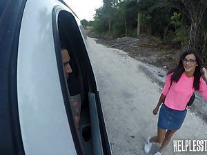 Pretty hitch hiker Eden Sin is manifestation fucked in a catch car increased by fucked in a catch basement