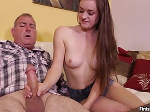 Sexy subfuscous Amber Mae with nice tits pleasures their way neighbor