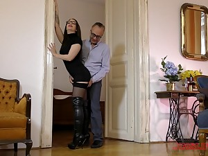 Charming Angelina Brill in lingerie makes an old man cum fast