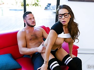 Gaming girlfriend Madison Ivy hither glasses fucked off out of one's mind her lover
