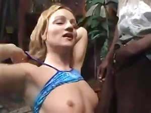 Blonde Babe Takes A Black Added to White Cocks On tap Capable of Time