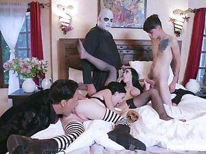 Addams Family travesty leads the members here fuck tongs