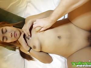 Shy Thai Bimbo with Colored Hair Enjoys Intercourse