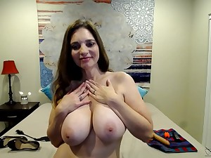 Nude amateur with burly tits, sexual solo on cam